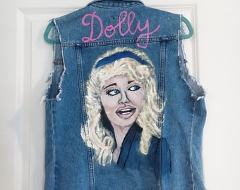 Dolly Parton Hand Painted Denim Vest