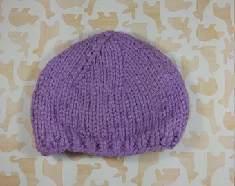 Newborn pastel purple winter hat;  bulky newborn hat