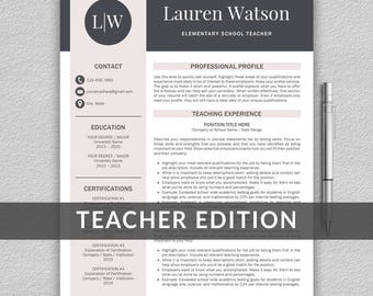 Teacher resume etsy teacher resume template for word 1 and 2 page resume template cover letter yelopaper Image collections