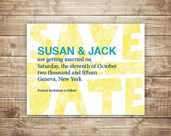 Printable Wedding Save the Date - Wood Type, Letterpress