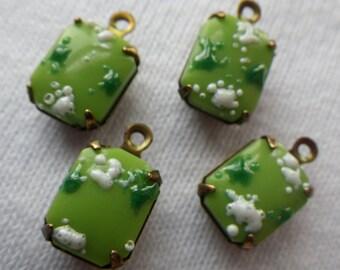 Grasshopper Green Cherry Blossom Vintage Textured Glass 10x8mm Brass Ox Drops 4 Pcs