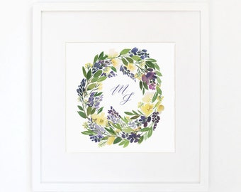 Lavender Wreath - Monogrammed Watercolor Art Print