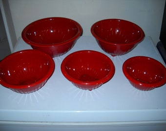 """Hazel Atlas Red Fired-on 5 pc. Ribbed Nesting Mixing Bowl Set (6 5/8"""" - 10 5/8"""")"""