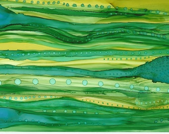 Ribbons of Green Alcohol Ink Painting
