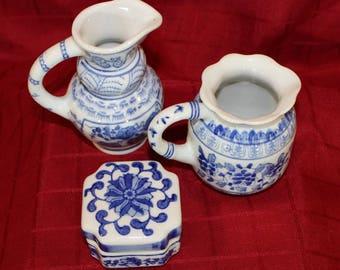 Imari Style Blue & White Pitcher, Blue and White Box, Decorative Trio