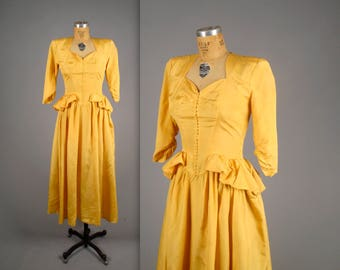 1930's golden yellow taffeta evening gown  • vintage 30s dress • button front mustard yellow peplum dress