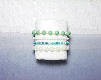 4 set Stackable Bracelets - Arm Party Stack - Beaded Bracelets
