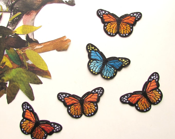 Orange butterly iron on patch  Monarch butterfly Iron on patch  Embroidered butterfly patch  Butterfly garment patch Orange butterfly patch