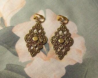 Clip on or Pierced Lightweight Antiqued Gold Filigree Diamond Earrings