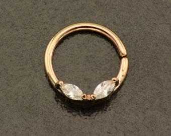 Rose Gold Septum Ring. 16 Gauge Daith Piercing. Simple 16G Rose Nose Ring. Elegant Cartilage Hoop. Rose Gold Twist Bendable Hoop Septum.