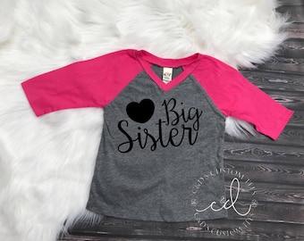 Big Sister Shirt - Sibling Shirt - Big Sister Raglan Shirt - Sister Shirt - Only Child Expiring Shirt - Only Child - Girls Big Sister Shirt