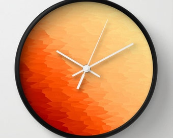Clock, Orange Clock, Orange Wall Clock, Sunny Orange Clock, Orange Home Decor, Orange Ombre Clock, Bright Orange Clock,  Kitchen Clock