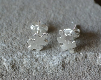 Puzzle Piece Stud Earrings, Autism Awareness Earrings, Autism Awareness Studs, Jigsaw Studs, Autism Awareness Jewelry, Jigsaw Puzzle Studs