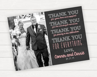 Thank You Card, Wedding Thank You, Photo Thank You, Wedding Photo, Wedding Day, Printed Thank You, Printable Thank You, Thank You Note