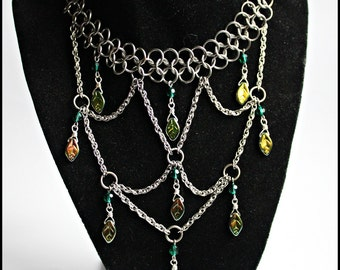 The Duchess Nature Green Emerald Leaf Goddess Chainmail  Chainmaille Royalty Necklace