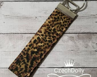 Key Fob Wristlet - Leopard Fabric - Tan, Brown & Black - great for moms