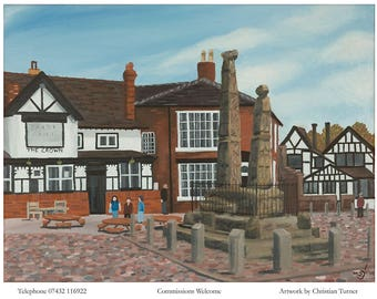 Sandbach Crosses - original oil painting on linen canvas by Christian Turner