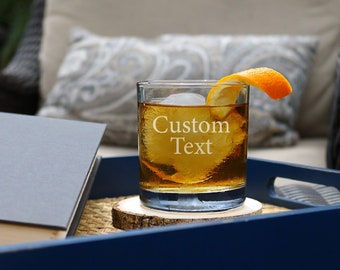 Personalized Whiskey Glasses, Custom Whiskey Glasses, Groomsmen Gift, Rocks Glass, Etched Whiskey Glass, Scotch Glasses, Bourbon Glasses - D