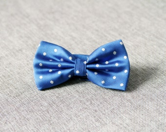 Men's Bow Tie Dot Bow Tie For Men - Polka Dot Dots Bowtie - Pre-tied Double Bow - Handmade Mens Gift Wedding Bow Tie Blue Bow Tie