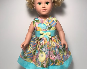 "Colorful Easter egg dress for 18"" doll"