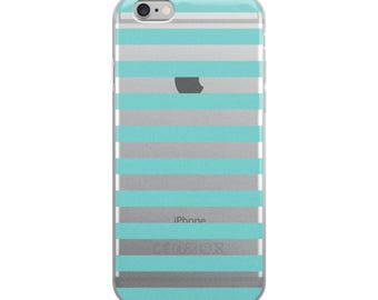 Horizontal Aqua Stripes iPhone Case
