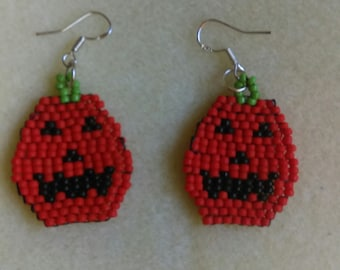 Handmade Beaded Halloween Pumpkin Earrings