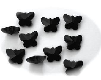 5 beads FACETED shape 15 mm x 12 mm glass black 3D BUTTERFLIES