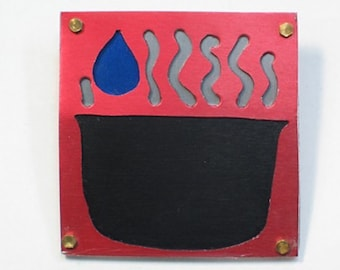 Anodized Aluminum Pin / Brooch - Simmering Cauldron