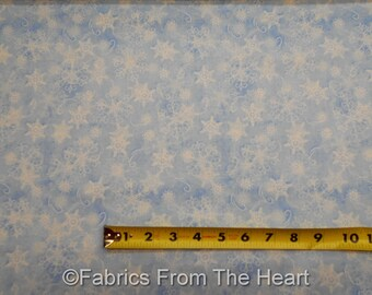 Welcome Winter White Snowflakes Toss Lite Blue BY YARDS Wilmington Cotton Fabric