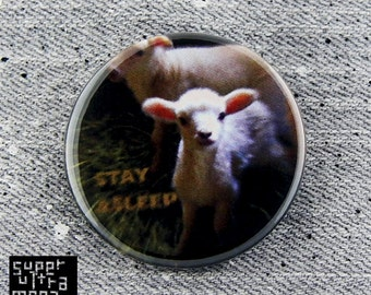 """Stay Asleep Sheep -1"""" or 1 3/4"""" - Pinback Button - Subliminal Message/They Live reference - 3 of 3 series"""