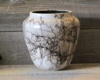"Saddlestring 8"" Horse Hair Pottery Vase - Made in Wyoming"