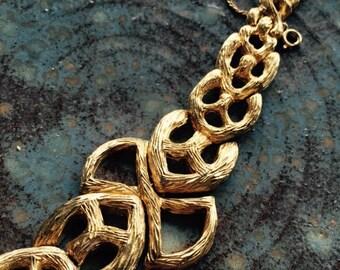 Vintage OGC Hollywood Regency Golden Bracelet Signed textured