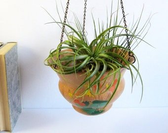 Vintage Hanging Ceramic Planter w Metal Chains - Brentleigh Ware Studio Pottery Made in England - 30s Home Decor - Hanging Ivy Planter Pot