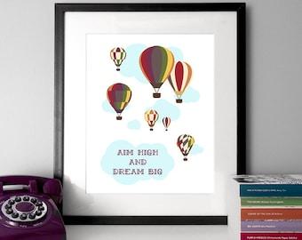 Illustrierte Zitat, Heißluftballon, träumen, großes Angebot, Abbildung drucken, Zitat Drucke, Wolken-Illustration, Typografie, Plakat, Zitat poster