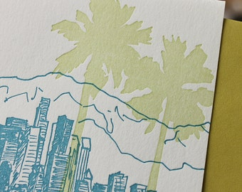 Los Angeles - eight letterpress note cards