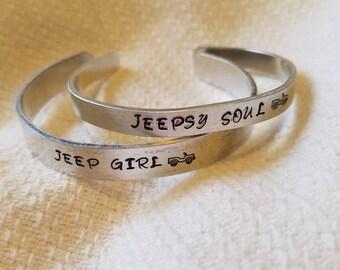 Jeep Girl - Jeepsy Soul - Hand Stamped Cuff - Jeep Jewelry - Jeep Bracelet