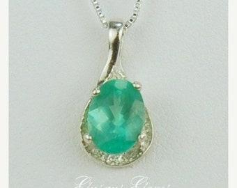 MothersDaySale Apatite Sterling Silver Necklace 8x6mm 1ct