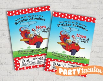 Cat In The Hat Dr Seuss Birthday Invitation