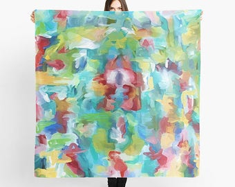 Women's Scarf, Watercolor Scarf, Square Scarf, Chiffon Scarf, Abstract Scarf, Sheer Scarf, Spring Scarf, Lightweight Scarf, Fashion Scarf