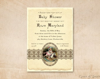 Printable Baby Shower Invitation - 4.25x5.5, 4x6, 5x7 - Antique Rocking Horse - Ivory Brown Pink Blue - Girl Vintage Victorian Storybook