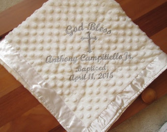 Personalized Baptism / Christening Embroidered Baby Blanket/Custom/The WOW gift treasured for years to come! New Baby, Baptism, Christening.