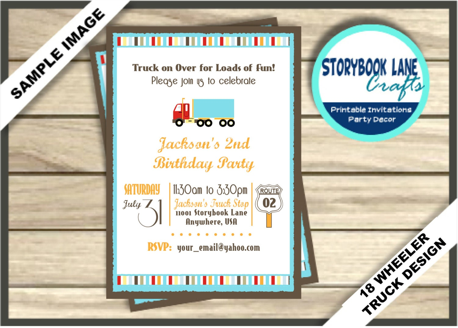 Truck Birthday Invitation 18 Wheeler Birthday Invitation