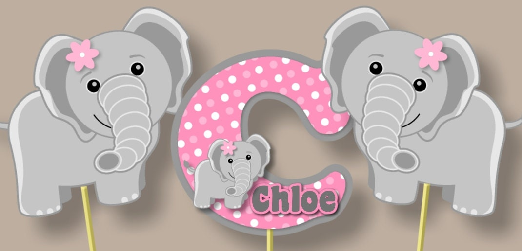 Pink Elephant Baby Shower Centerpiece Or Birthday Party