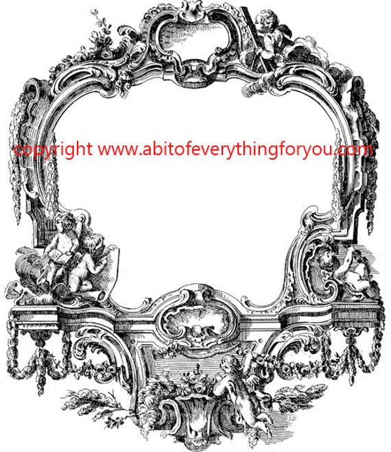 antique angel frame illustration printable art clipart png download digital vintage image graphics digital stamp black and white artwork