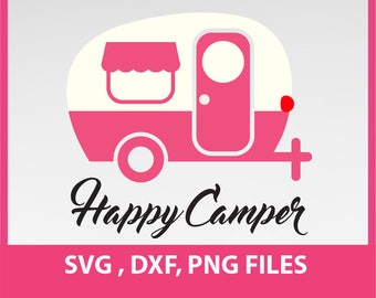 Happy Camper Svg Etsy Rh Com Clipart Black And White