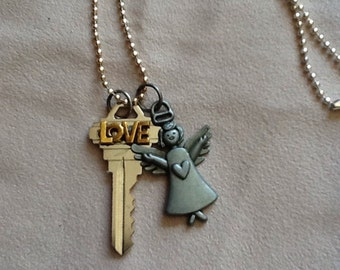 Angel Love is the Key Necklace
