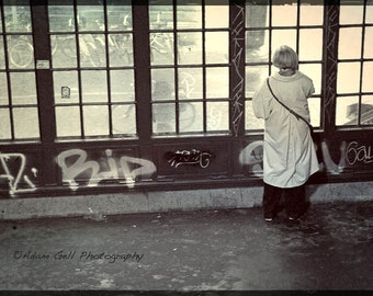 Berlin photography,Black &white,Windows,Urban design,Train station, woman on phone, solitude,   East Berlin,Germany,Wall Art, wall Decor