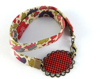 Bracelet double liberty square motif black and Red