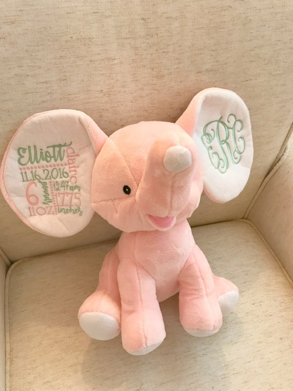 Birth Announcement Embroidered Elephant