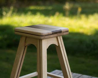 Wood Desk Stool Table Height in Maple and Walnut Wood